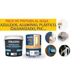 PACK PINTURA AL AGUA PARA AZULEJOS, ALUMINIO, PLÁSTICO, GALVANIZADO, PVC ...(IMPRIMACIÓN + ESMALTE SATINADO)