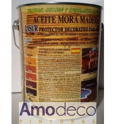 ACEITE MORA PARA MADERAS INCOLORO BRILLANTE. Lasur protector, lavable, no hace escamas y con protección U.V.
