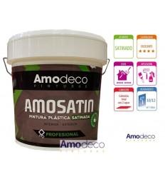 AMOSATIN PINTURA PLASTICA BLANCO SATINADO MUY LAVABLE, CUBRIENTE Y ALTO BRILLO. INTERIOR Y EXTERIOR