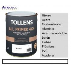 IMPRIMACION TODOTERRENO 4 X 4 PARA HIERRO, GALVANIZADO, PVC, PLASTICO ALL PRIMER TOLLENS